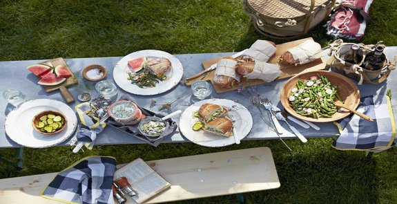 Image of a summer picnic table setting