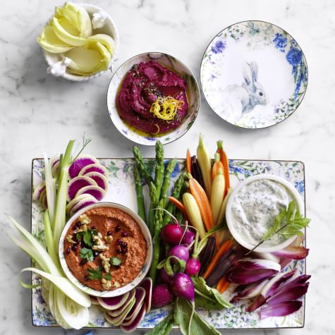 Image of a spring vegetable crudite and dips