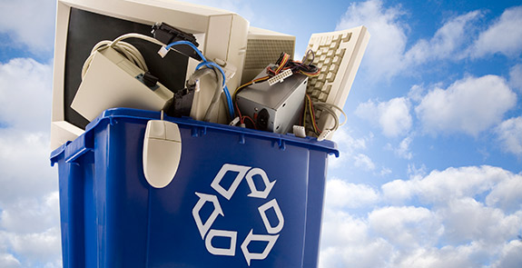 Recycling Can with electronic waste