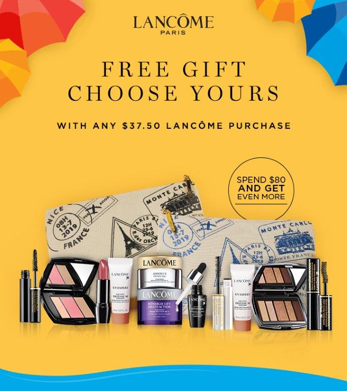 """Macy's Lancôme products including mascara, blush, skin care, eye shadow, etc. Photo text states, """"Lancome Paris, FREE GIFT CHOOSE YOURS with any $37.50 Lancome purchase""""."""