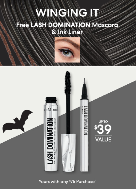 """bareMinerals """"Lash Domination"""" Mascara and Eyeliner. Text reads, """"Winging It. Free Lash Domination Mascara & Ink Liner. Up to $39 value. Yours with any $75 purchase."""""""
