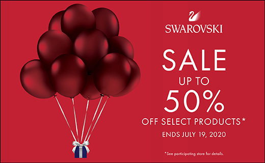 """Image of red balloons carrying a jewelry box. Text reds: """"Swarovski Sale up to 50% off select products. End July 19, 2020. See participating store for details."""""""