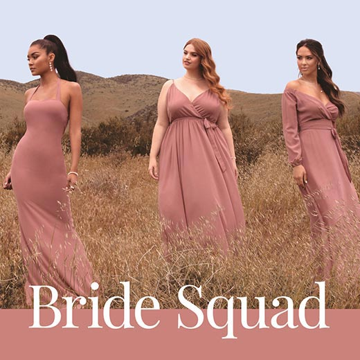 three attractive women posing in 3 different styles of bridesmaid dresses.