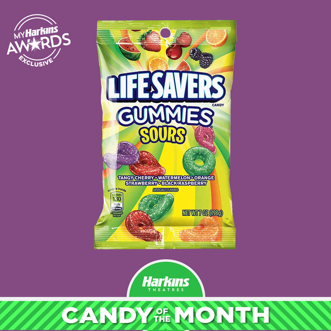Bag of Lifesavers gummies on a purple background with a bar at the bottom calling them out as the Candy of the Month