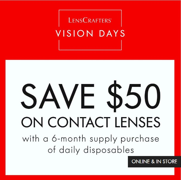 Save $50 on contact lenses with a 6-month supply purchase of daily disposables.