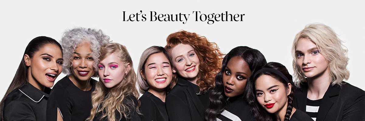 "Eight diverse women wearing a variety of makeup styles and a line of text reading ""Let's Beauty Together"""