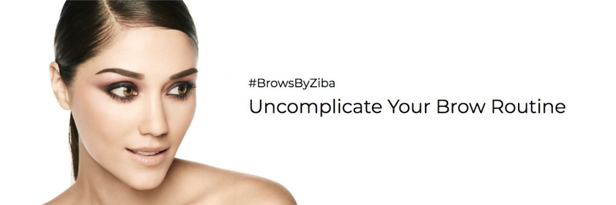 "Face of a female model with a smokey eye and defined brows. Copy reads ""#BrowsByZiba Uncomplicate Your Brow Routine"""