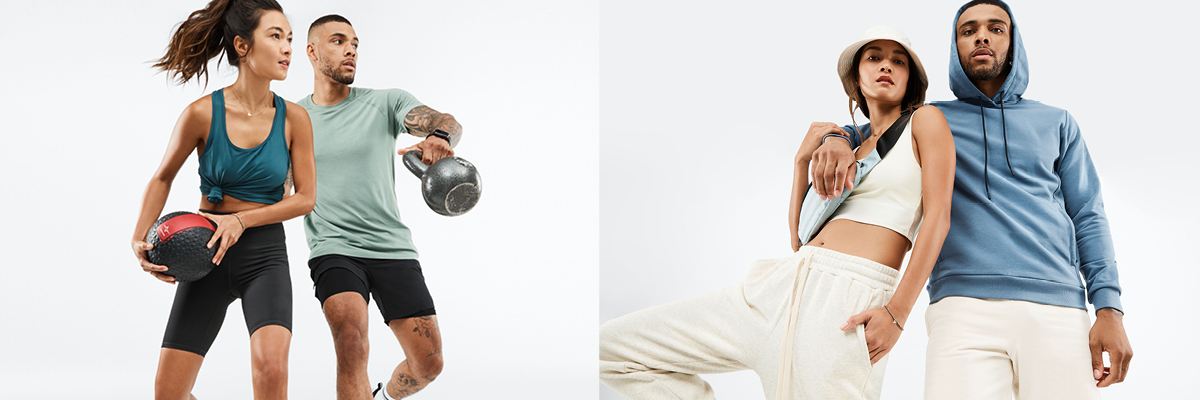 Two side-by-side photos of a young man and woman in different Fabletics outfits