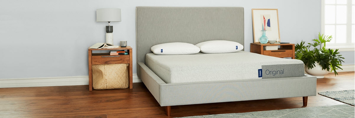 Casper mattress on a bed in a modern-style bedroom