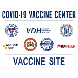 COVID-19 Vaccine Center Vaccine Site with sponsor logos